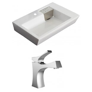 Ceramic 26 Wall Mount Bathroom Sink with Faucet and Overflow American Imaginations