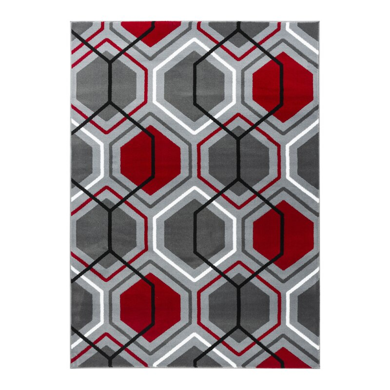 Velez Geometric Honeycomb Red Grey