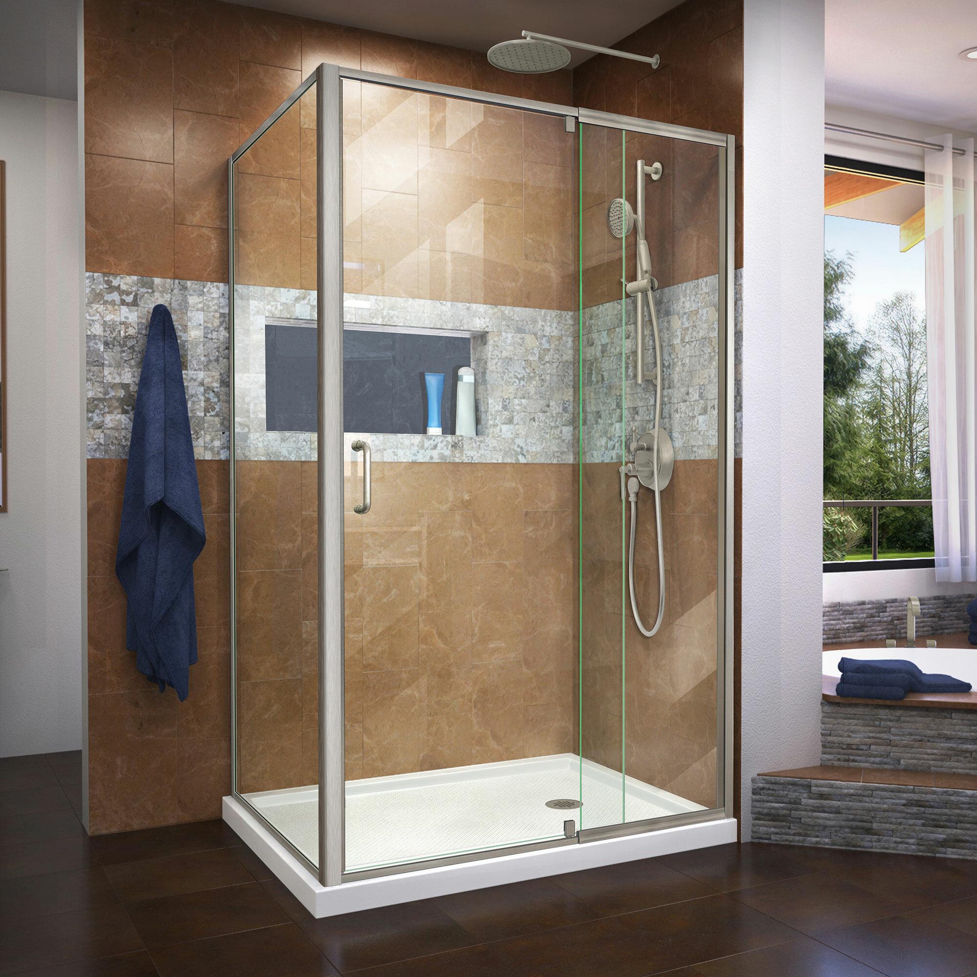 Semi Frameless Pivot Shower Enclosure 48 44 X 72 Rectangle Pivot Shower Enclosure