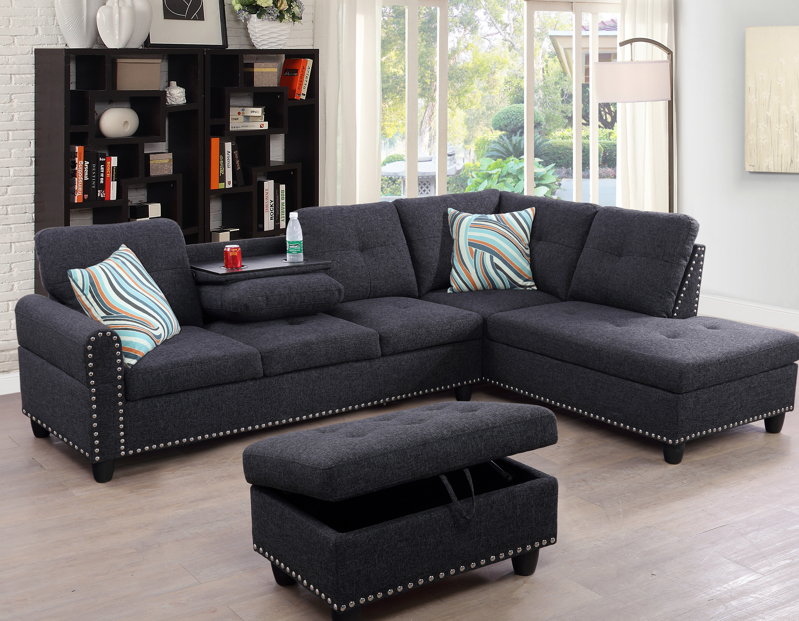 Admirable Charlton Home Sciortino Sectional With Ottoman Reviews Machost Co Dining Chair Design Ideas Machostcouk