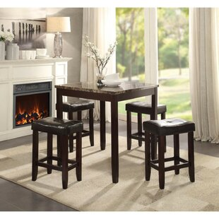 Nakasi Wooden Counter Height 5 Piece Pub Table Set
