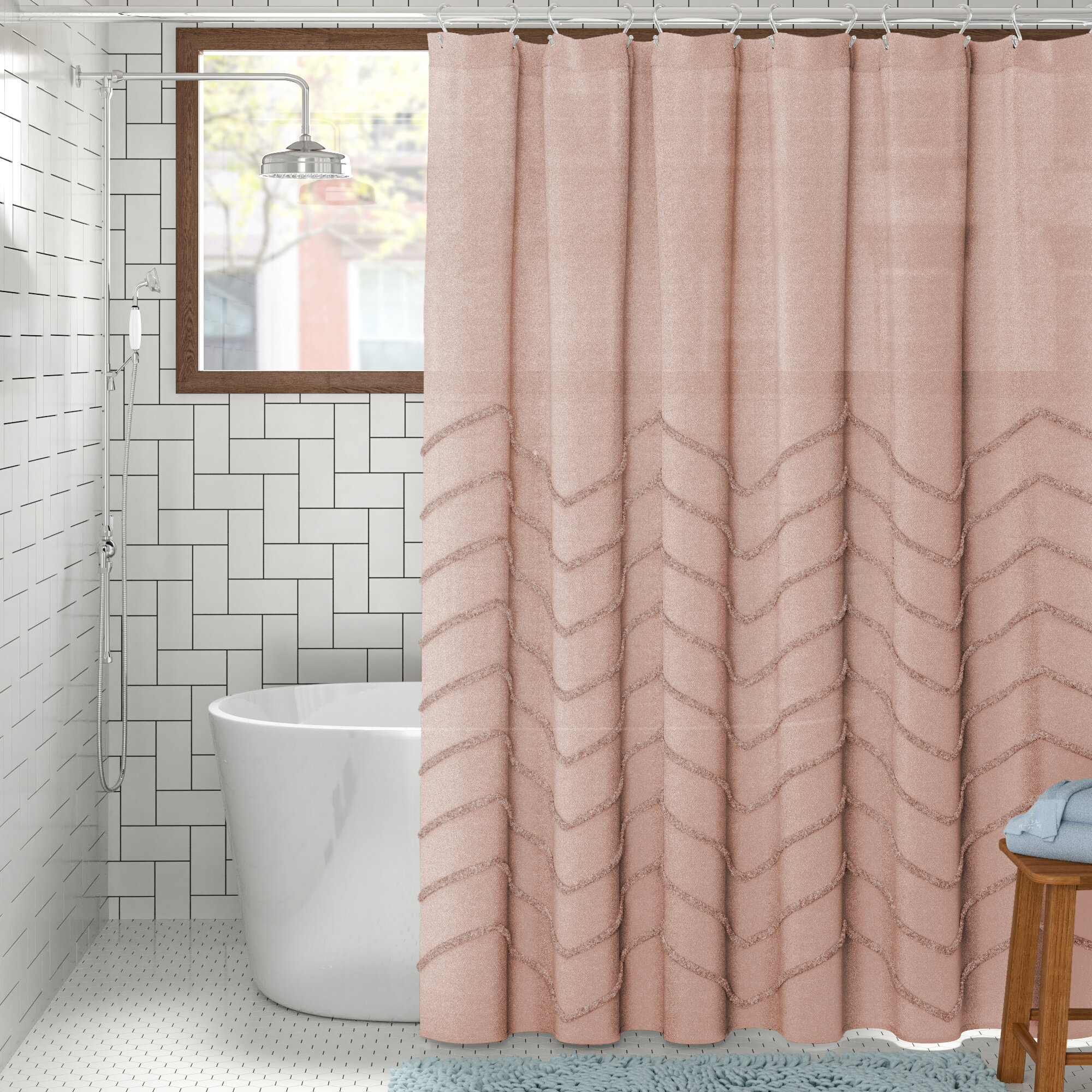 Cotton Geometric Single Shower Curtain