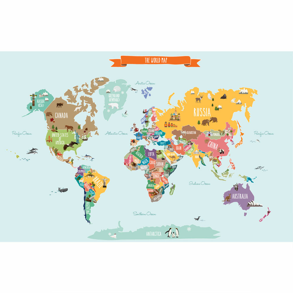 SimpleShapes Countries Of The World Map Poster Wall Decal - World map with oceans and countries