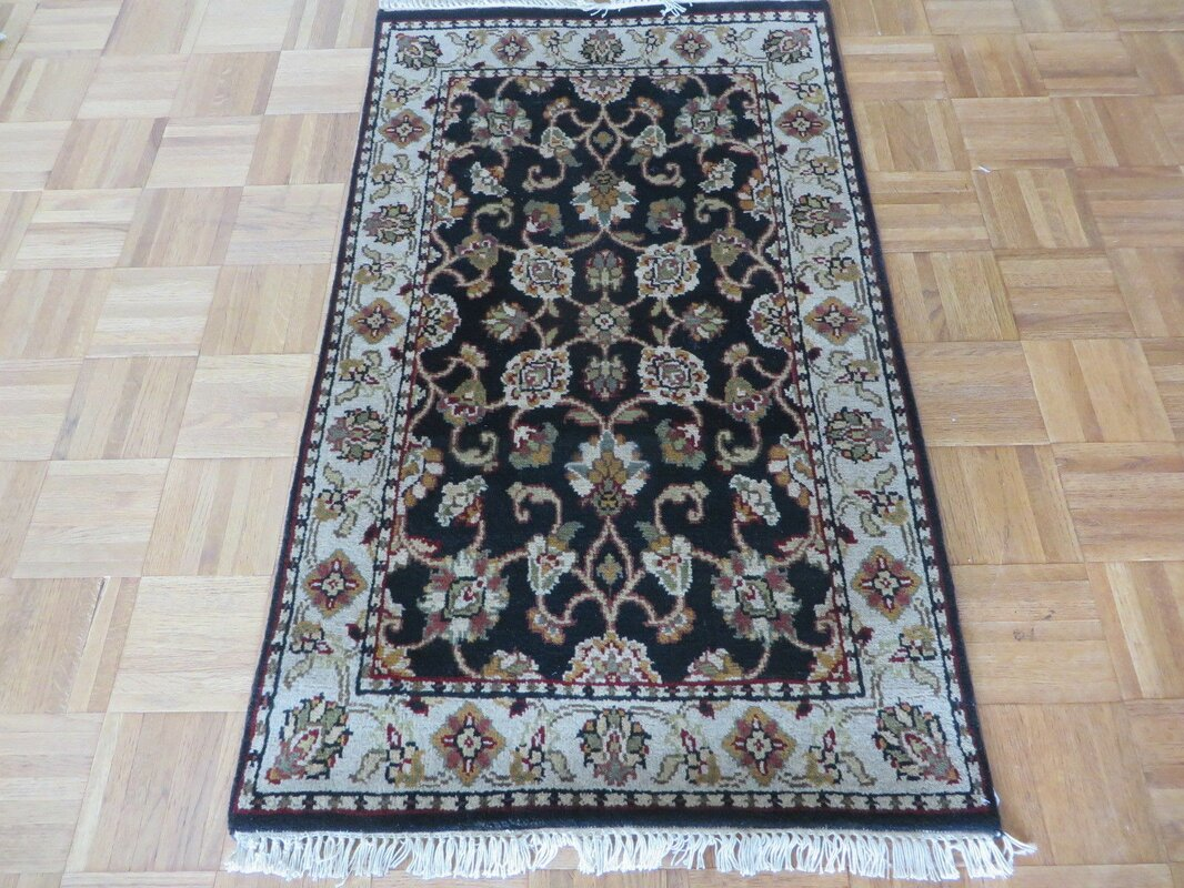 One Of A Kind Rhyne Hand Knotted Wool Black Area Rug