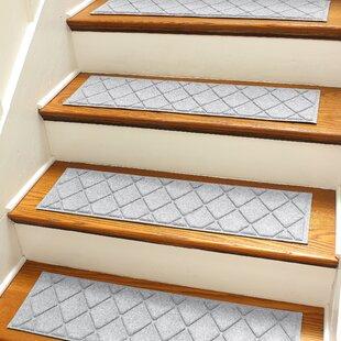 Aqua Shield Gray Argyle Stair Tread Set Of 4