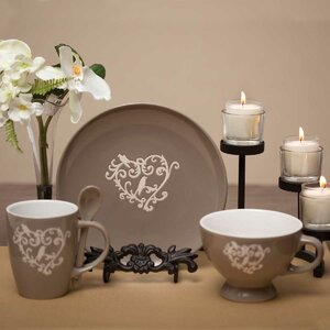 Heart Scroll 3 Piece Place Setting, Service for 1