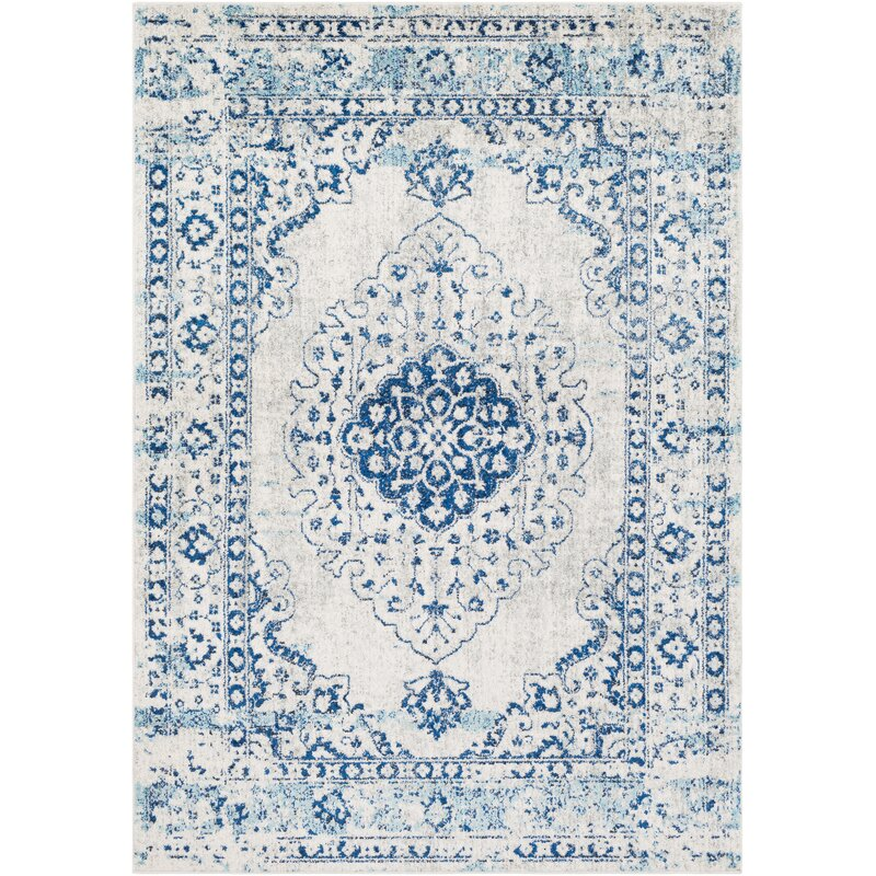 Almonte Distressed Navy/Light Blue Area Rug