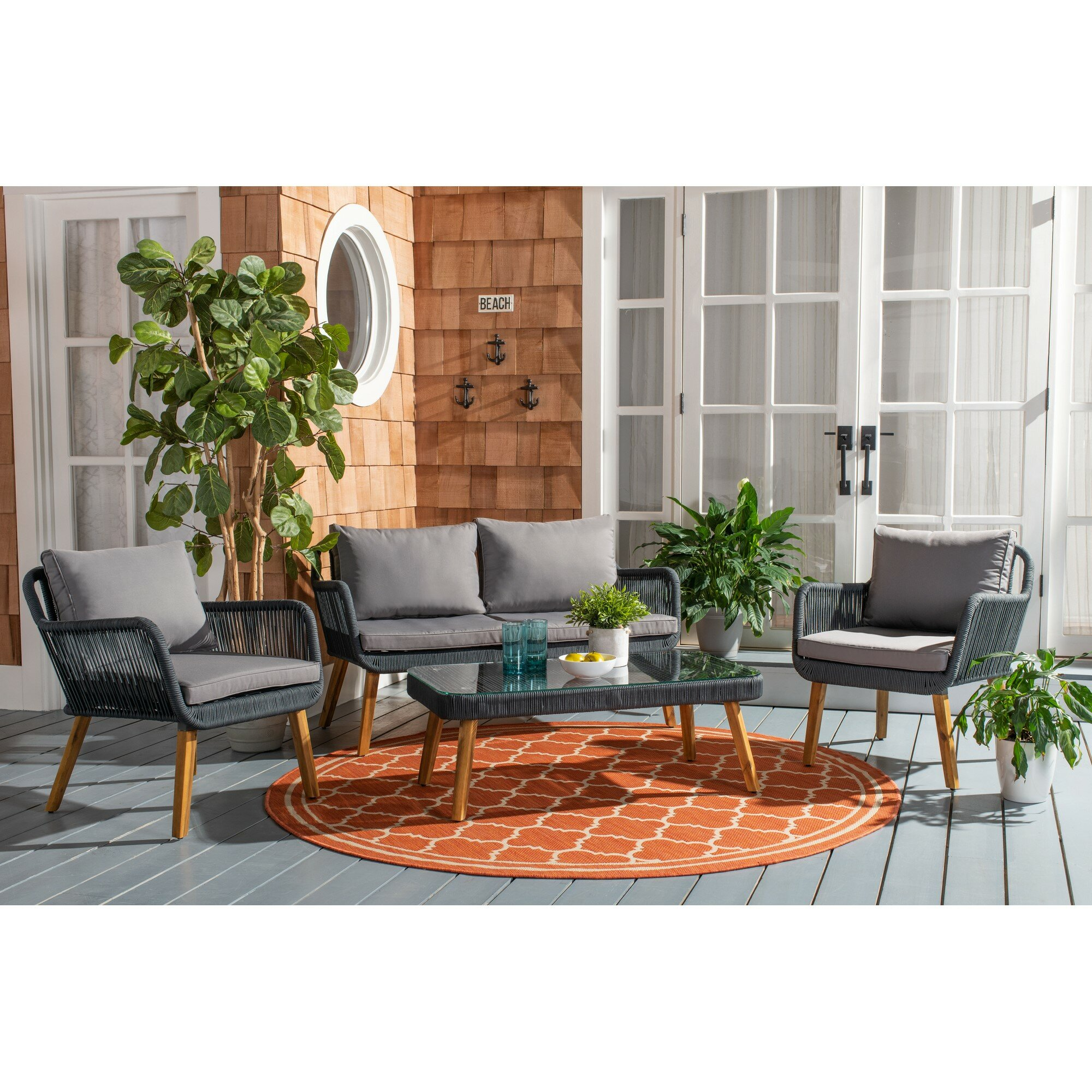 Astounding Fletcher 4 Piece Sofa Seating Group With Cushions Ibusinesslaw Wood Chair Design Ideas Ibusinesslaworg