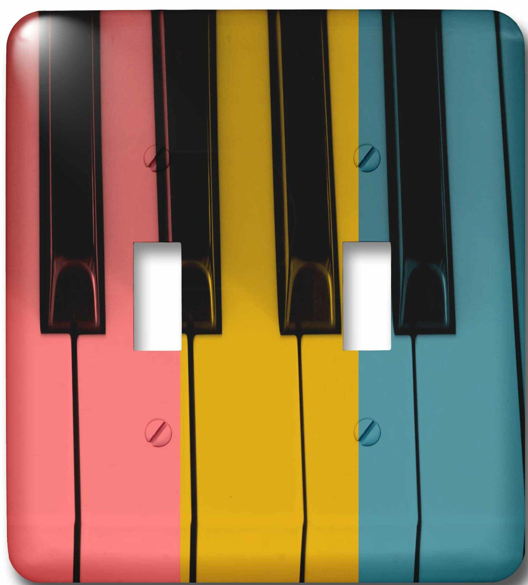 3drose Trio Of Colors Piano Keys Musical Fun Art 2 Gang Toggle Light Switch Wall Plate Wayfair