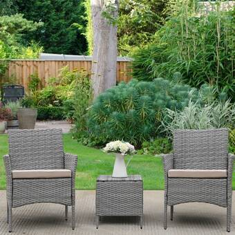 Andover Mills Earlville 3 Piece Rattan Seating Group With Cushions Reviews Wayfair
