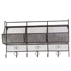 Metal Shelf and Coat Hanger with Mesh Backing, 3 Numbered Shelves and 7 Hooks Black