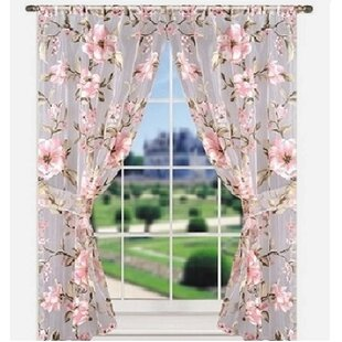 Garfield Bath Window Floral/Flower Sheer Curtain Panels (Set of 2) by Ophelia & Co.
