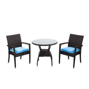 Rattan Outdoor Furniture Brighton 3 Piece Bistro Set with Cushion
