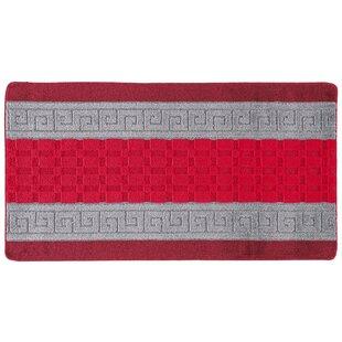 Gel-Back Washable Red/Grey Rug by Metro Lane