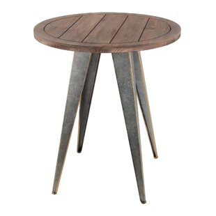 Pompey Wood Iron End Table by Gracie Oaks Spacial Price