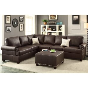 Bobkona Cady Reversible Sectional  sc 1 st  Wayfair : leather blend sectional - Sectionals, Sofas & Couches