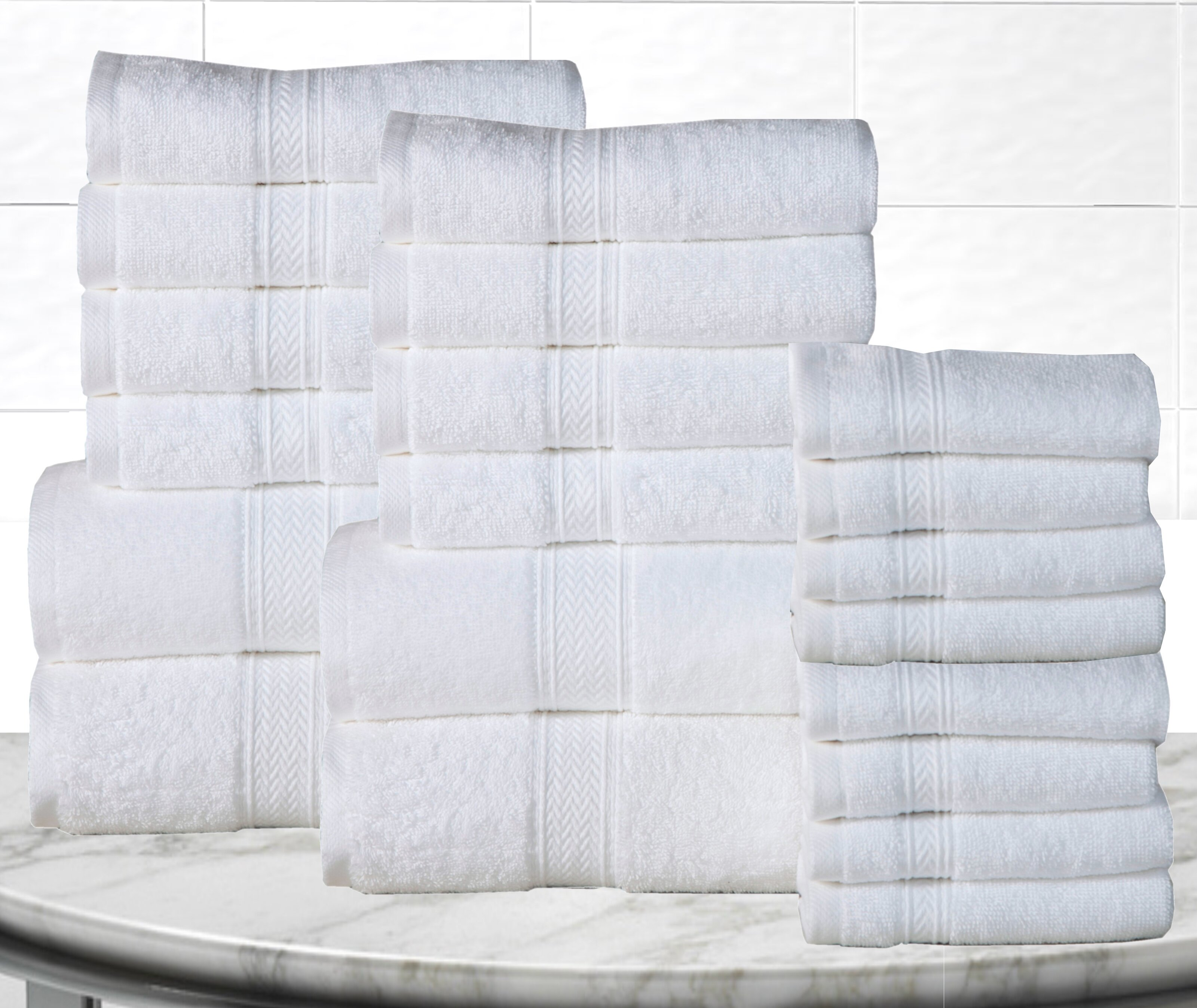 """12 Pack Royal Kitchen Towels 100/% Soft Cotton -15/"""" x 25/"""" Dobby Weave -Gr..."""
