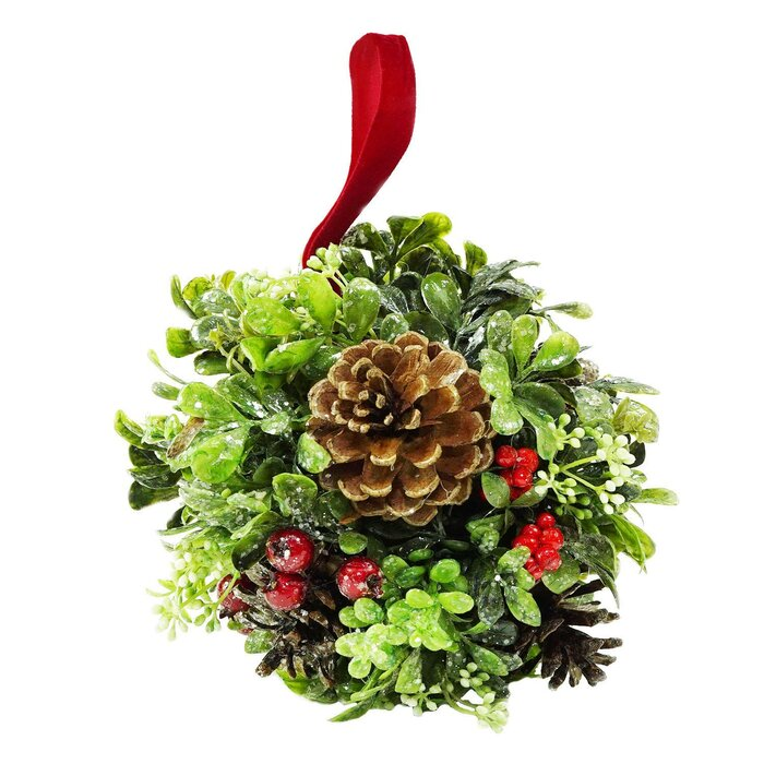 Christmas Topiary.Glittered Artificial Boxwood Berry And Pine Cone Christmas Kissing Topiary Ball