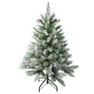 flocked angel 4 pine artificial christmas tree with pine cones - Christmas Tree With Pine Cones