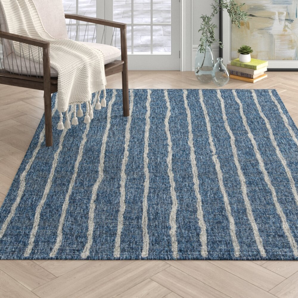 Sicily Striped Blue White Indoor Outdoor Area Rug
