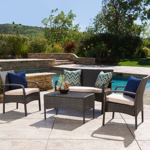 Jeffrey 4 Piece Rattan Sofa Seating Group with Cushions By Alcott Hill
