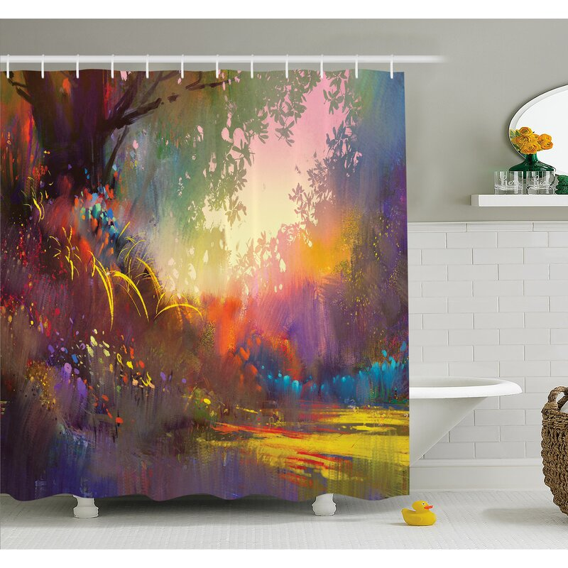 East Urban Home Magical Lake With Brush Effects Surreal Nature Elf Tranquil Art Print Shower Curtain Set