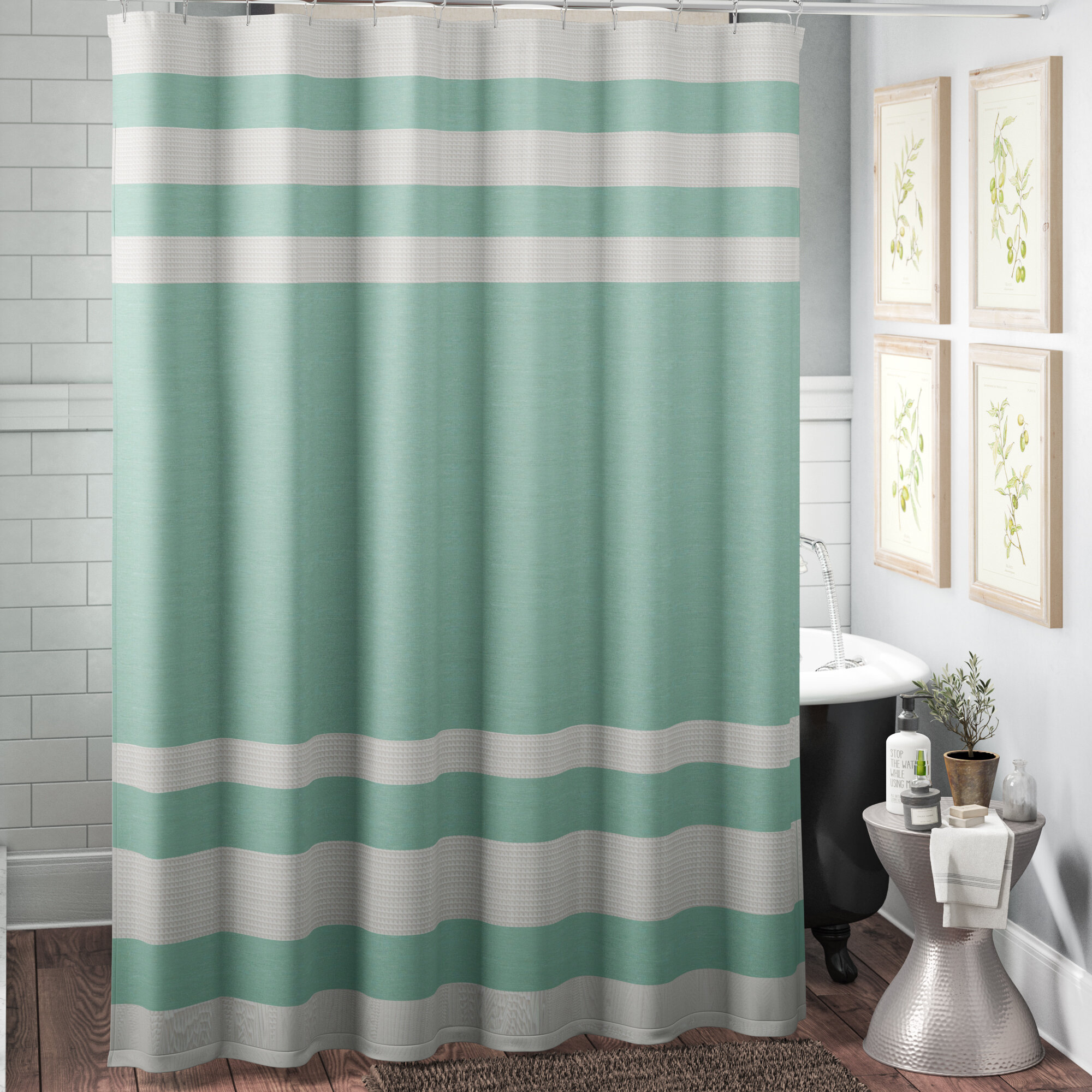 The Twillery Co Merrick Striped Single Shower Curtain Reviews Wayfair