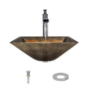 MR Direct Foil Undertone Glass Square Vessel Bathroom Sink with Faucet