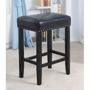 Stonge Wooden Leather Upholstered 27 Bar Stool (Set of 2) by Charlton Home
