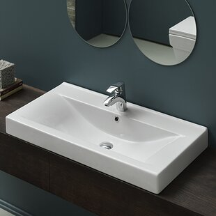 Clearance Mona Ceramic Rectangular Drop-In Bathroom Sink with Overflow By CeraStyle by Nameeks