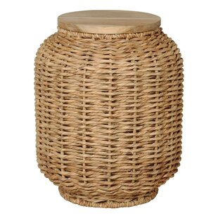 Emissary Home and Garden Large Water Hyacinth Wood Lantern Stool
