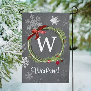 Wreath Personalized Polyester 1'5 X 1' Garden Flag By CPS