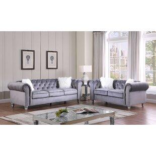 Dearman 2 Piece Velvet Living Room Set by Rosdorf Park