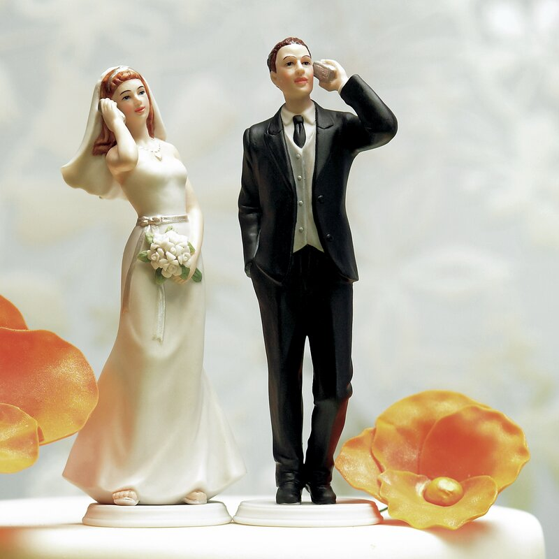 Cell Phone Bride and Groom Cake Topper