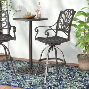 Brownridge Outdoor Cast Aluminum Patio Bar Stools (Set of 4)