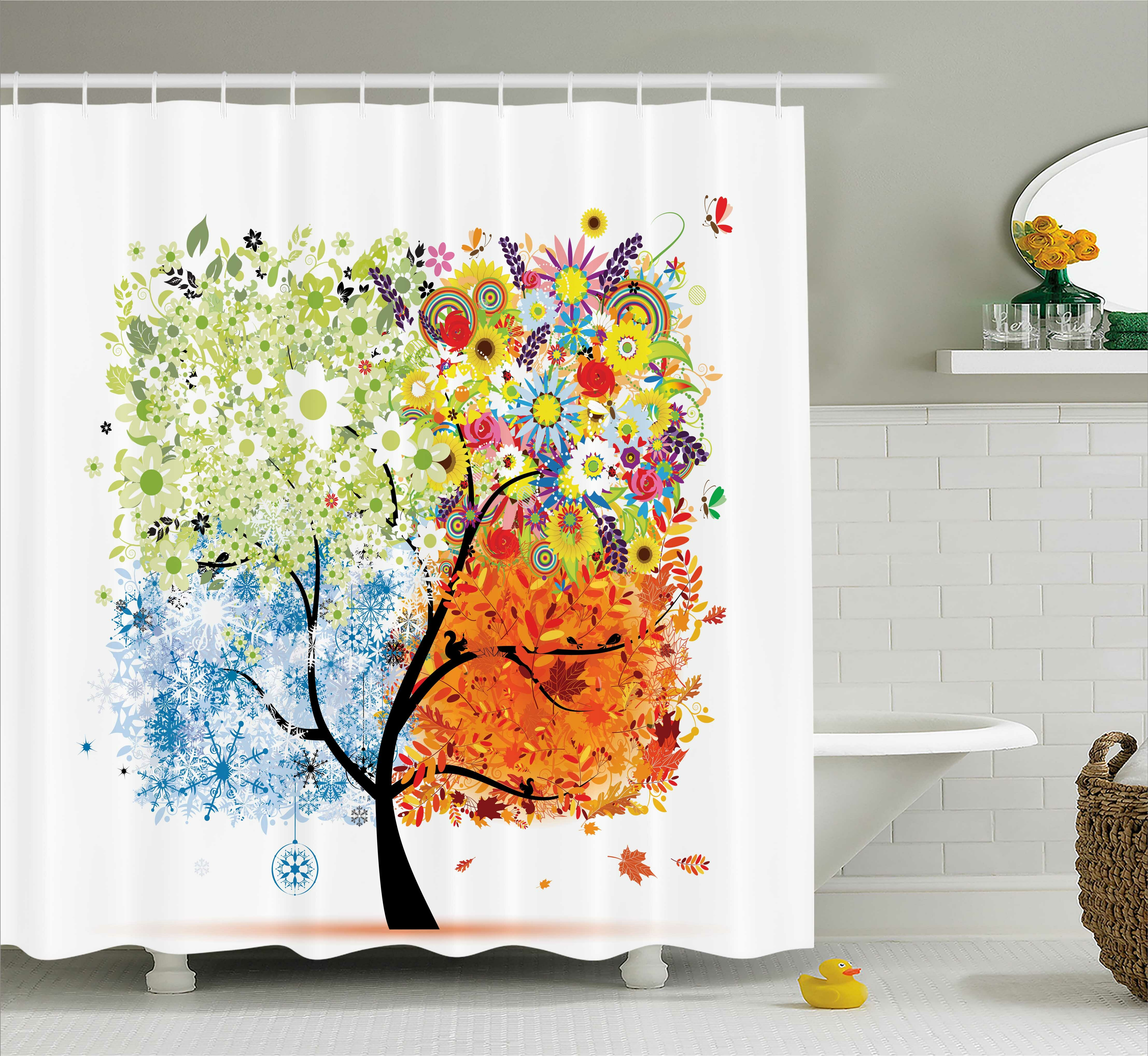 Ebern Designs Gina Season Tree Branches With Flowers Spring Summer Autumn Winter Theme Artwork Single Shower Curtain Wayfair