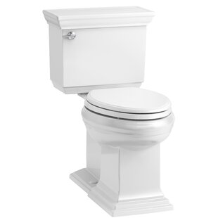Kohler Memoirs Stately Comfort Height 2-Piece Elongated 1.28 GPF Toilet with Aquapiston Flush Technology and Left-Hand Trip Lever, Concealed Trapway
