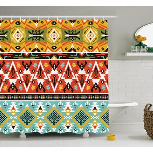 Claire Tribal Love and Adventure Abstract Mountains Pattern With Aztec Indian Art Single Shower Curtain