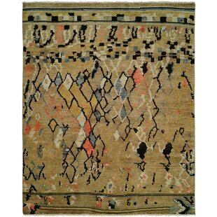 Hug Hand Knotted Wool Gold Area Rug by Bloomsbury Market