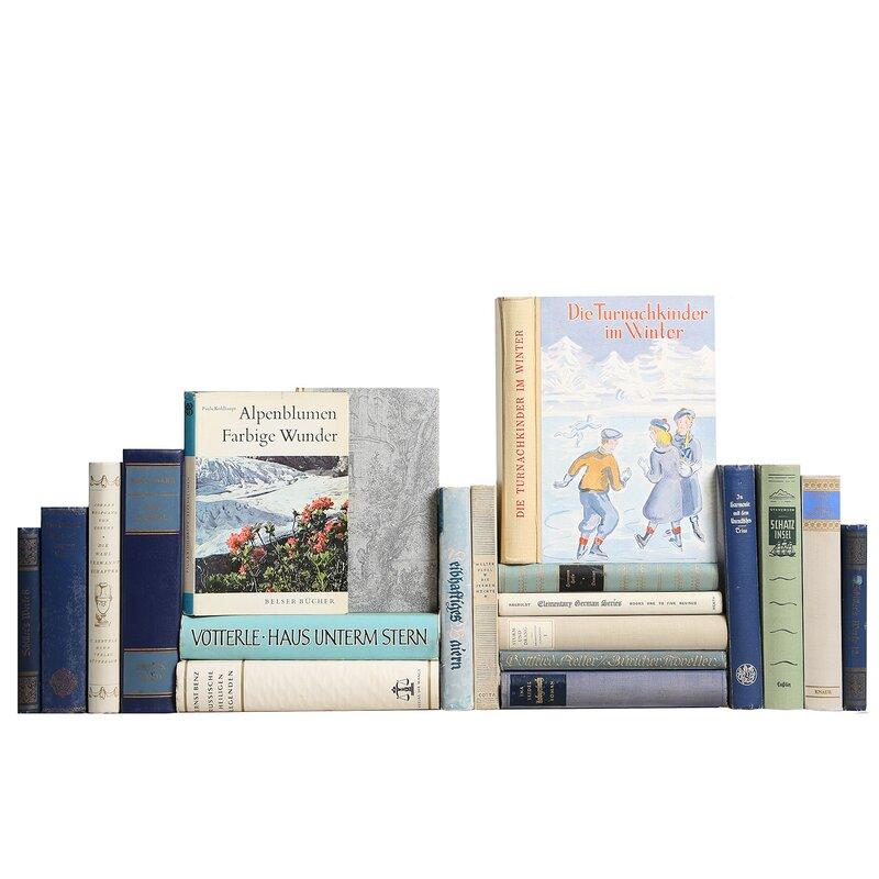 Booth Williams 20 Piece Authentic Decorative Books Custom Set Midcentury German Language Readings Set Perigold