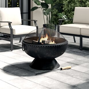 Tuscola Firebowl Steel Wood Burning Fire Pit With Handles And Spark Screen