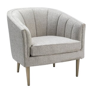 Chlo Metallic Leg and Linen Upholstered Channel Back Barrel Chair by Ivy Bronx