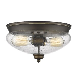 Darby Home Co Casselman 2-Light Glass Shade Flush Mount