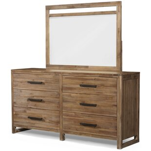 Union Rustic Ciera 6 Drawer Double Dresser with Mirror