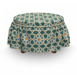 Moroccan Star Ornament 2 Piece Box Cushion Ottoman Slipcover Set by East Urban Home