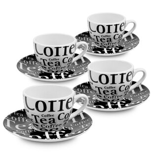 Coffee Bar Coffee Cup and Saucer Set (Set of 4)
