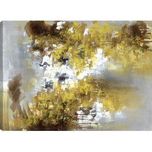 Fl Art The Yellow Blossoms Acrylic Painting Print On Canvas In Gray