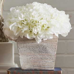 Hydrangea in White-Washed Wood Cube