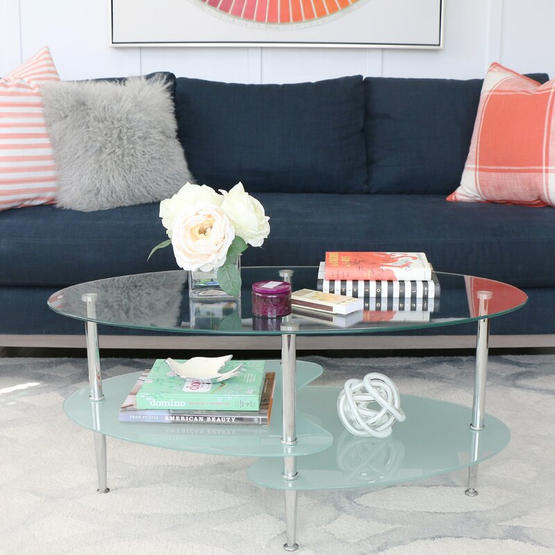 Zipcode Design Efraim Glass Oval Coffee Table Reviews Wayfair