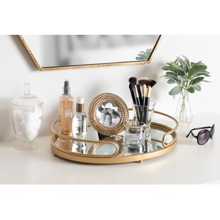 Metal Mirrored Ornate Accent Tray